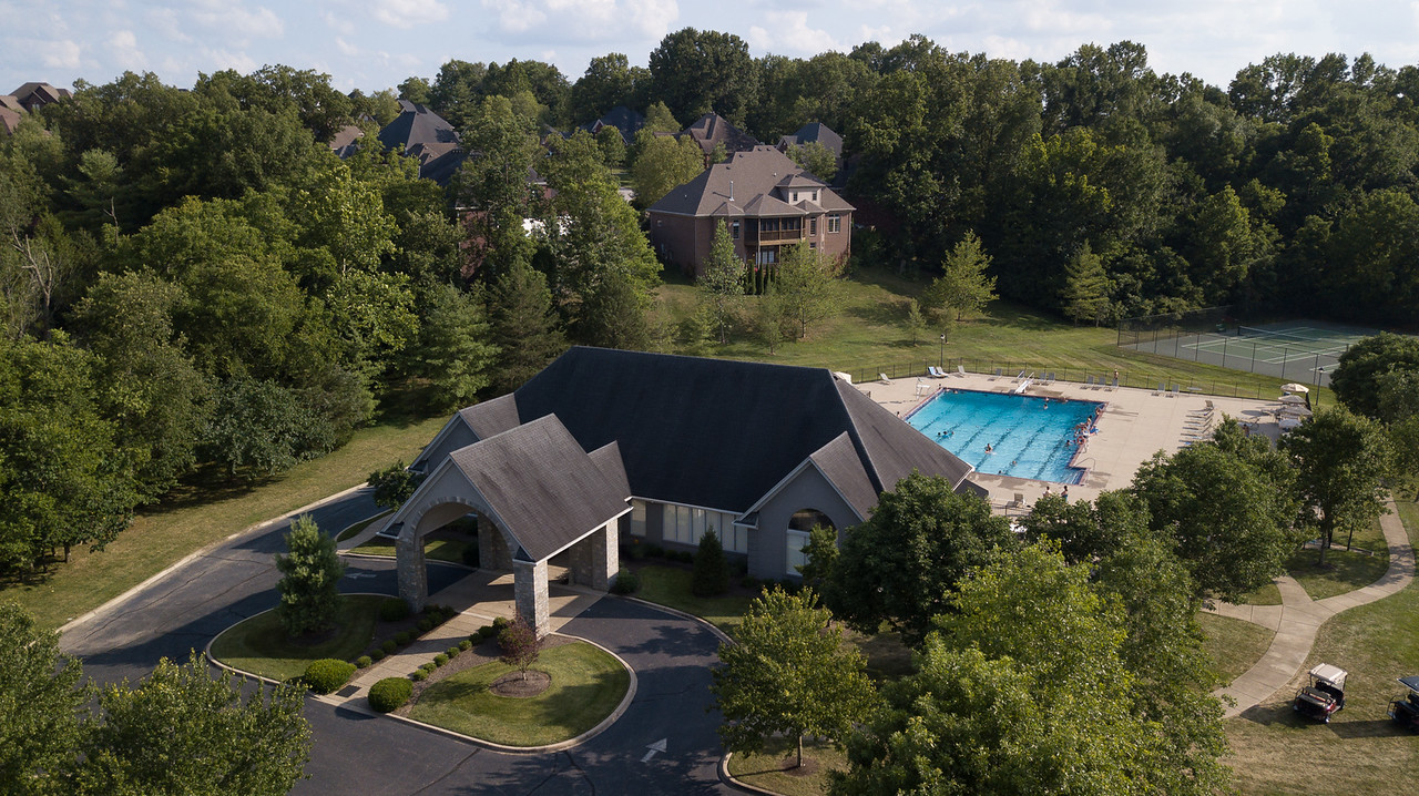 Arial view of clubhouse and pool